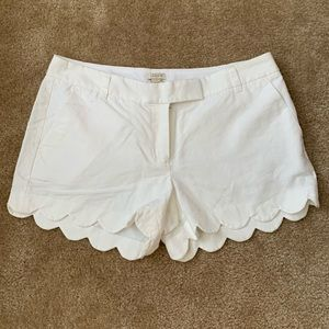 JCrew White Scalloped Shorts